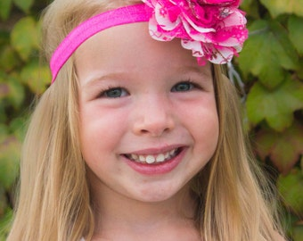 Hot Pink Paisley Floral Chiffon Lace Flower Headband - Gift or Photo Prop - Newborn Baby Infant Toddler Girl Adult Birthday Party Favor