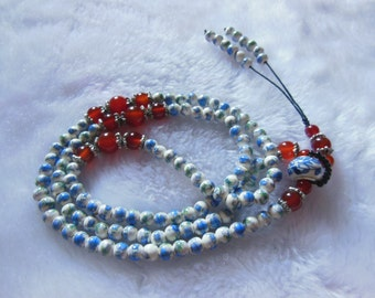 Free Delivery natural Blue and white porcelain 6mm beads rosary 108 beads mala flower bracelet