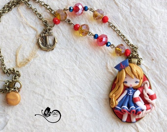 polymer clay necklace /sailor collection/ fimo / clay / polymerclay
