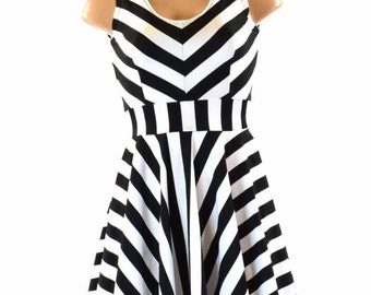Black & White Stripe Tank Sleeve Fit and Flare Skater Dress 151219