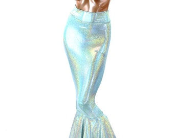 Long High Waist Seafoam Shimmering Holographic Mermaid Skirt  151272
