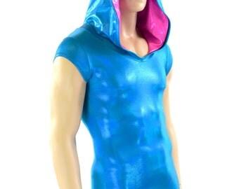 Mens Cap Sleeve Peacock Blue and Neon Pink Spiked Dragon Hoodie Romper Rave Festival Clubwear EDM Party Animal Onsie -151313