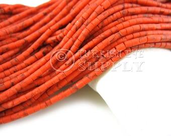 Afghan Beads 2mm Coral Orange Matrix Heishi Bead Strands Howlite Seed Beads One 1 Full Strand Semiprecious Gemstone Beads Loose Beads