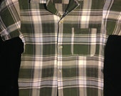 Vintage 1950s 60s Boys Forest Green Grey Plaid Penneys Shirt