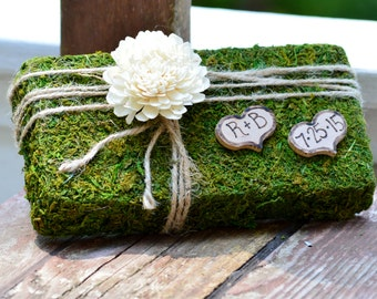 Moss Ring Bearer Pillow , Rustic Ring Pillow, shabby chic Ring bearer, country wedding, woodland wedding