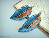 LONG LEATHER EARRINGS, leaf earrings, blue earrings, leather earrings, brown earrings, earrings, leather jewelry, boho earrings, jewelry