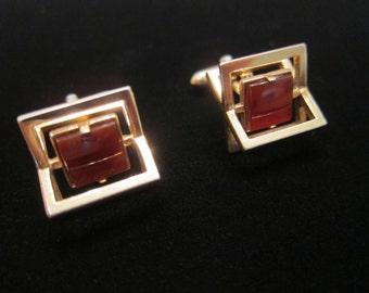 Vintage Swank Modernist Gold Tone Rust Stone Carnelian Glass Square X Cuff Links - Signed Swank Mid-Century French Cuff Shirt Cuff Links