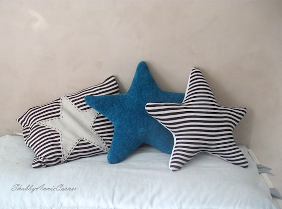 Beach theme decor Coastal pillows Star pillow Nautical Blue