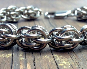 Stainless Steel Chainmail Bracelet, Men, Handmade, Jewelry, Chainmaille, Chain and links, Sweet Pea, 8 inch