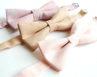 Mix & Match Blush Linen Bow Ties- Wedding Bow Ties -Pastel Bowties - Groomsmen Bowties- Set of 3