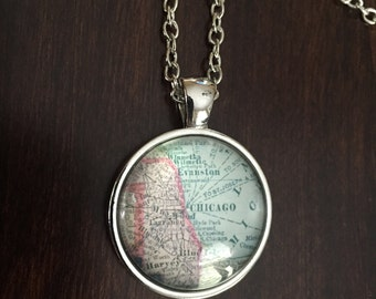 Chicago, Chicago Necklace, Chicago jewelry, Chicago map necklace, map of Chicago, map of Chicago necklace, Chicago pendant, silver necklace