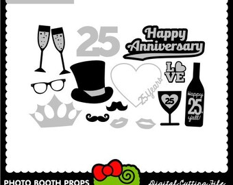 25th Anniversary, Photo Booth Props, Silver, SVG Files, DXF Files, Vector Art, Cricut Design Space, Silhouette Studio, Digital Cut Files