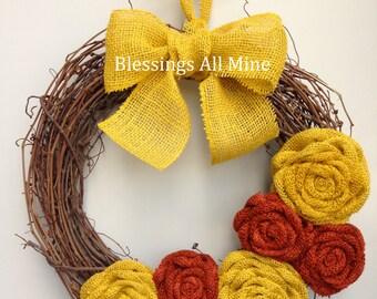 "14 inch Grapevine Wreath, Burlap Yellow & Orange Jumbo Flowers, Yellow Bow/Hanger, Summer Fall Autumn Wreath, ""Candy Corn"" Wreath"