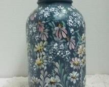 Blue, Glass Jar, Kitchen Storage, Jar, Hand Painted Design, Garden Daisies, Blue Daisies, Cone Flowers, Queen Annes Lace, Kitchen Decor.