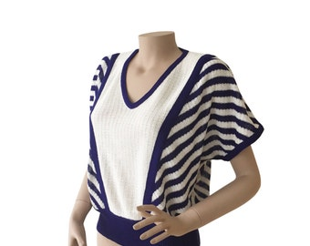Geometric 70s Vintage Knit V-Neck Top Size M E D I U M