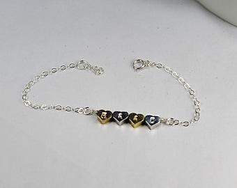 4 Sisters Bracelets - 4 BBF ,Heart Initial Bracelet. Big Sis Mid Sis Mid Sis Lil Sis With 4 Hearts.Engraved bracelet, Personalized Bracelet