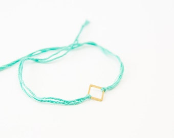 Square bracelet, wish bracelet, square, square wish bracelet, geometric bracelet, square charm, thread bracelet, cute square bracelet