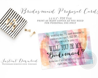 Instant Download Funny Bridesmaid Proposal Card- Will you be my bridesmaid Invite Snarky Bridesmaid Cards No Ugly Crying- Personal Attendant