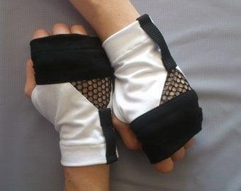 Black&White fingerless gloves cyberpunk arm warmers jersey   - WRW-W