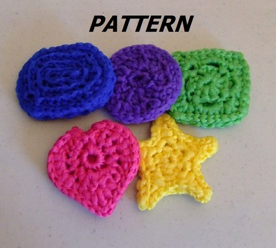 Free Pattern Crochet Nylon Pot Scrubbers : PATTERN Pot Scrubber Shapes Crocheted