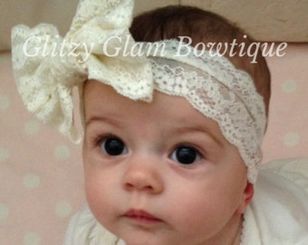 Ivory or White  Lace Bow Baby Headwrap