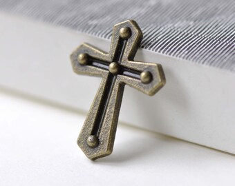 20 pcs of Antique Bronze Lovely Cross Charms 21x27mm A7719