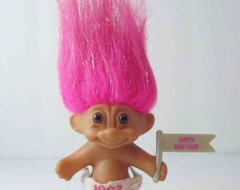 "Troll Doll ""Happy New Year"" Hot Pink Tinsel Hair Russ 1993"
