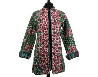 KANTHA JACKET - X Small - Long style - Size 8/10 - Red off-white yellow flowers. Reverse turquoise and grey square pattern.
