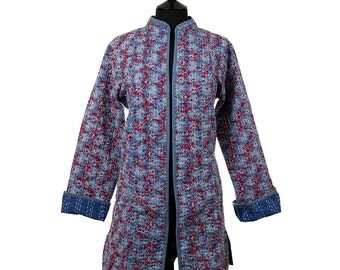 LEAF JACKET - All sizes - Long style - Blue with wine red and off white leaf pattern