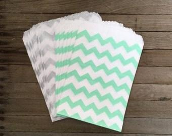 48 Mint and Silver-- Favor Bag--Stripe Favor Sack--Candy Favor Bag--Chevron Goodie Bag--Stripe Party Sack--Birthday Treat Sacks