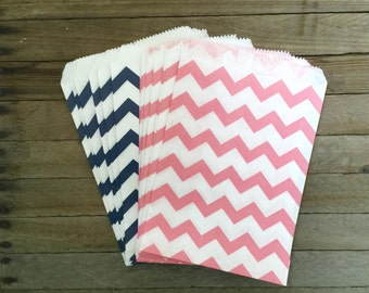 48 Pink and Navy Favor Bag--Chevron Favor Sack--Pink and Navy Candy Goodie Bag--Party Sack--Birthday Treat Sacks