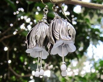 Earrings fairy dreams antique silver-colored opulent flowers tulips