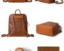 Leather Backpack Large- Square Shaped Leather Backpack- Brown  Large Leather Backpack Women or Men- High Quality and Returns  Guarantee