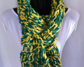 Green and Gold Long Scarf- Ready to Ship