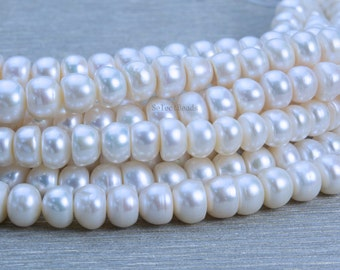white pearl beads - freshwater pearls - freshwater pearls beads - pearl beads for crafts - wholesale pearl beads - rondelle pearls -15 inch