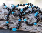RESERVED for CHERRIL Baltic Amber Necklace Dark Brown Rare Amber Round Beads with Genuine Arizona Turquoise Beads