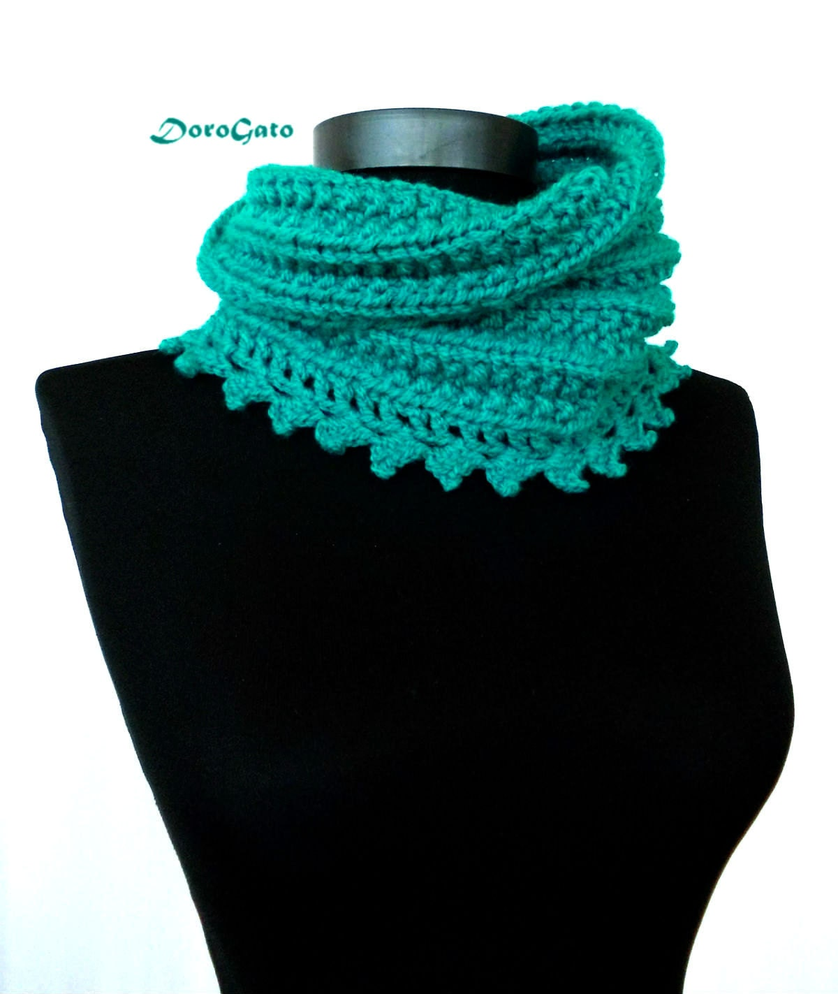 Knitting Pattern Lace Collar : Chunky Knit collar Green cowl with lace trim crochet by ...