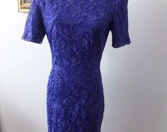 Vintage Beaded Lace Dress Purple