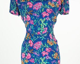Vintage 1980s Blue Floral Maggy London Petites Dress Size 6 / S