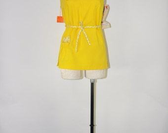 60s bright yellow tankini / cotton bathing suit top / lemon yellow swimsuit top