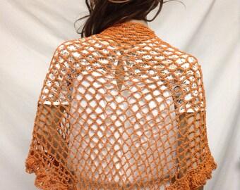 Knit Shawl,knit top,knit wrap, Peach,rust, Ruffled, Wrap
