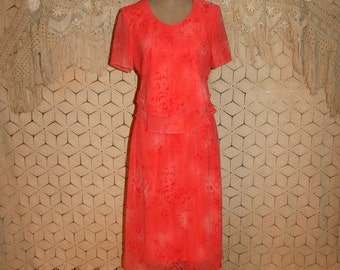 Orange Peach Chiffon Dress Medium Petite Midi Short Sleeve Womens Dresses Layered Day Dress Orange Dress Peach Dress Womens Clothing