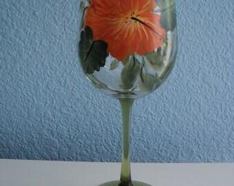 "Hand Painted Large 9"", 18.5 oz.  Wine Glass *Orange Hibiscus Design"