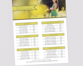 INSTANT DOWNLOAD, Sell Sheet, Collections or Packages Pricing Template, Photography Marketing Template, 8.5x11, Product Flyer, Pricing Guide