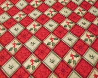 Christmas Flannel Fabric - Holly Plaid  - 1 yard - 100% Cotton Flannel