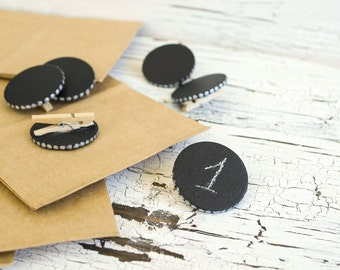 Mini table chalkboards - Wedding tags - Round table signs - Wooden mini tags - Party tags -Table numbers