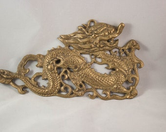 Solid Brass Dragon Wall Art