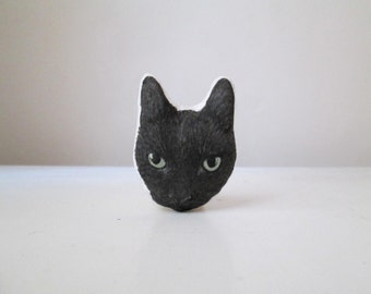 black cat brooch for cat lover gift idea for crazy cat lady head shaped hand painted fabric pin textile jewelry