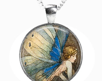 FAIRY - Glass Picture Pendant on Chain - Silver Plated (Art Print Photo D19)