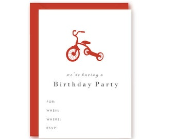 Blank Preppy Tricycle Birthday Party Invitations